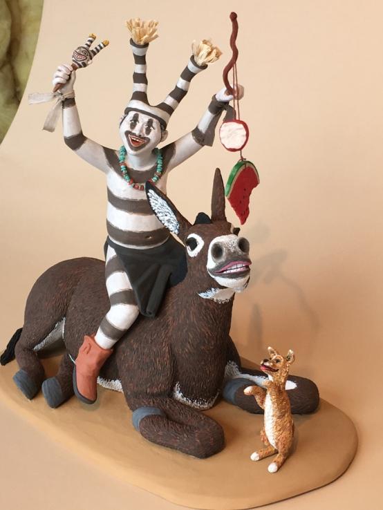 Koshare Boy with Donkey and Puppy