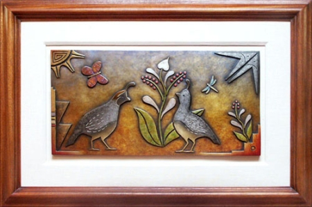 Spring Courtship - Quail Bronze Plaque
