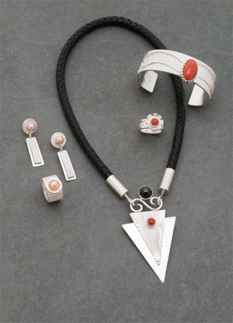 Cuttlebone Cast Sterling with Coral and Freshwater Pearls - Set © Copyright Althea Cajero, CajeroFineArt.com