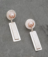 Cuttlebone Cast Sterling Dangles with Pink Freshwater Pearls - Post Earrings © Copyright Althea Cajero, CajeroFineArt.com