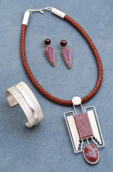 Cuttlebone Cast Sterling with Jasper and 18K Gold - Set, © Copyright Althea Cajero, CajeroFineArt.com