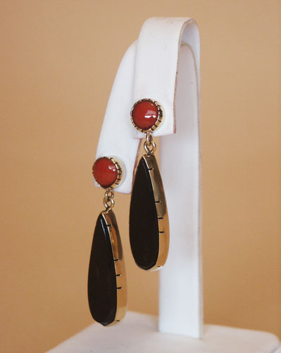 18K Gold Red Coral and Black Coral - Post Earrings, © Copyright Althea Cajero, CajeroFineArt.com