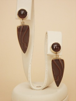 18K Garnet and Apache Hills Jasper Earrings, posts