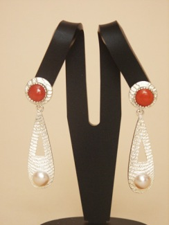 Cuttlebone Cast Sterling with Red Coral and White Freshwater Pearl Earrings, posts