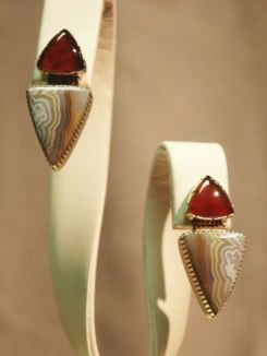 18K Earrings with Carnelian and Crazy Lace agate Stones / Post