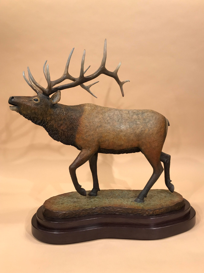 Sounds of the Fall - The Bull Elk - Bronze statue by Joe Cajero